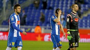 Joan Jordán y Pau, durante un encuentro del Espanyol en la campaña...