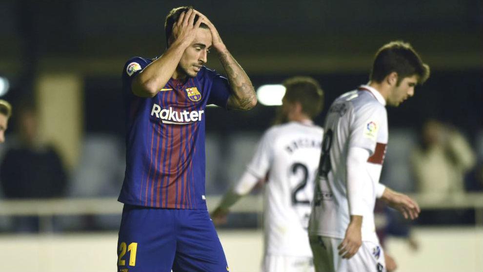 Costas se lamenta durante el partido contra el Huesca