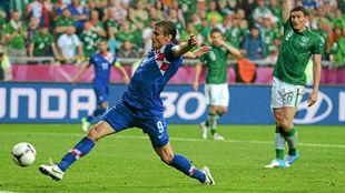 Jelavic durante un partido con Croacia