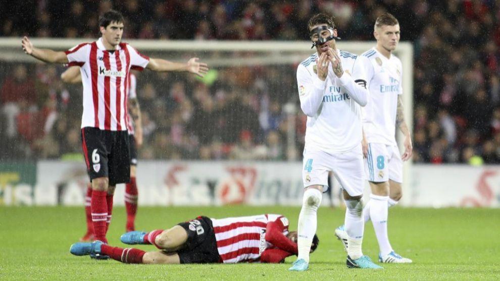 Ramos fue expulsado por dos codazos ante el Athletic