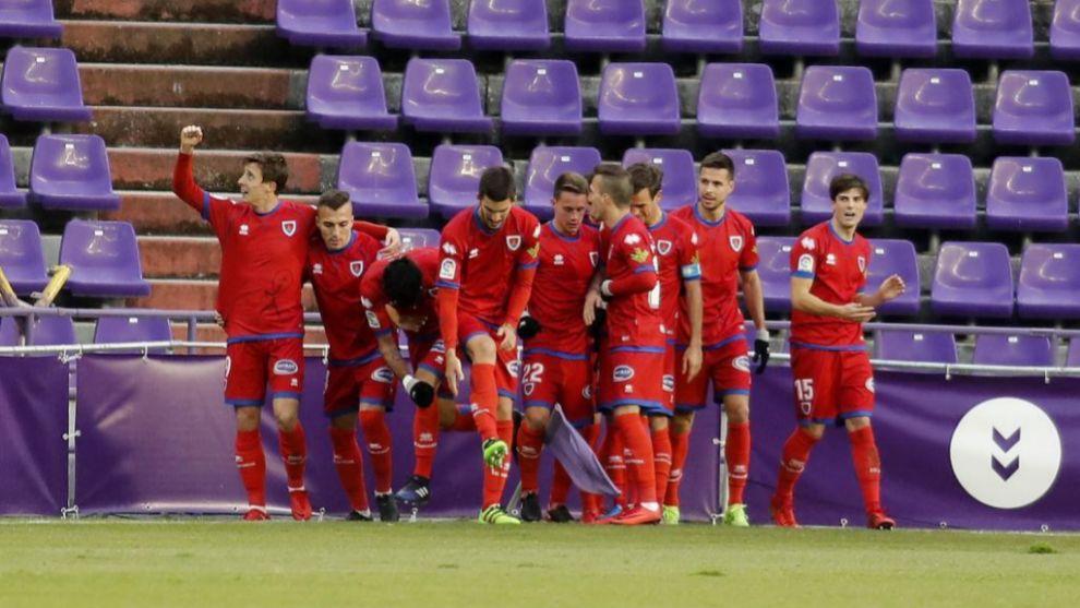 El Numancia celebra el gol ante el Valladolid
