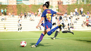 Leila Ouahabi durante un partido con el Barcelona esta temporada.