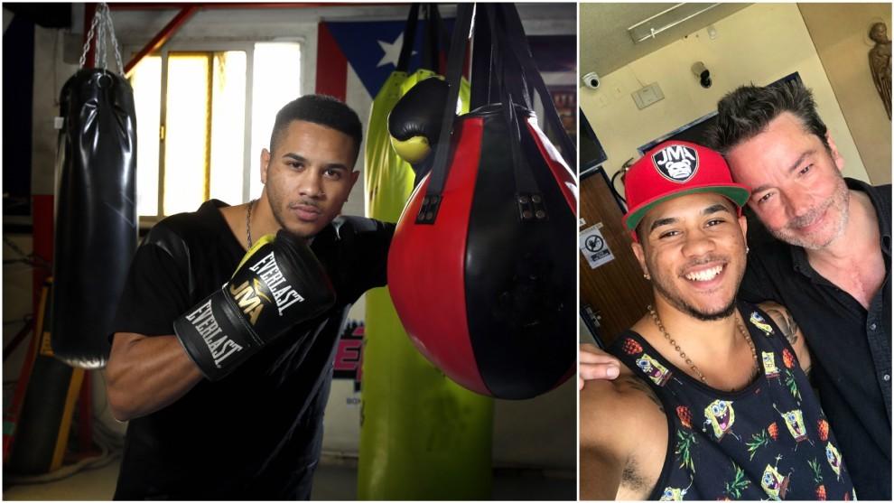 Jonathan Alonso, en el gimnasio y junto a Enrique Urbizu.