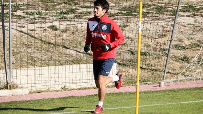 Shibasaki, en un entrenamiento del Getafe.