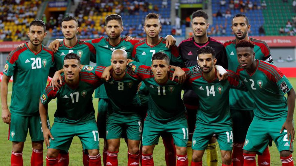 La selección de Marruecos, en un partido contra Gabón por la Copa...
