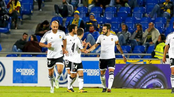 Negredo, Abdennour, Gayá y Prejo celebran un gol en el Insular de Las...