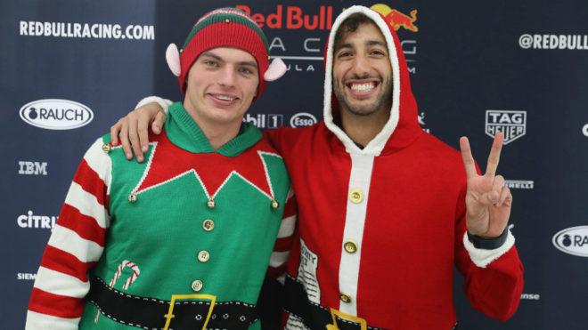 Verstappen y Ricciardo, disfrazados.