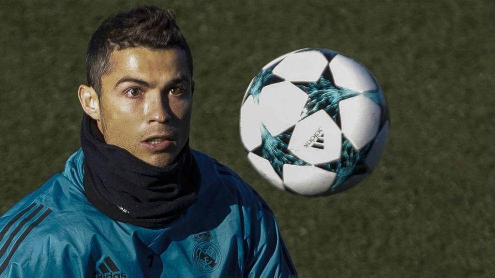 Cristiano Ronaldo, en Valdebebas en un entrenamiento de Champions
