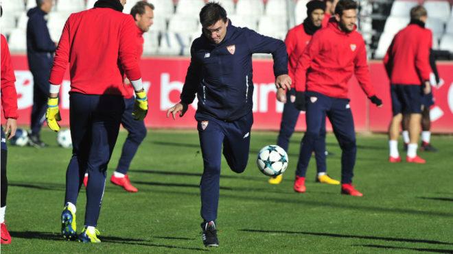 Marcucci, en el último entrenamiento en Sevilla.