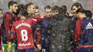 Los jugadores de Osasuna, el pasado viernes.