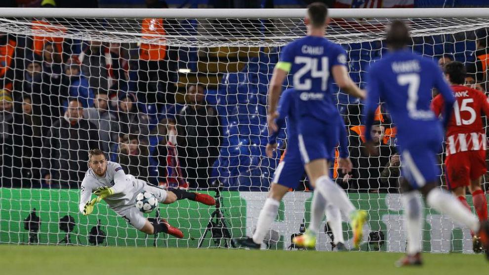 Oblak hace una parada en el Chelsea-Atleti en Stamford Bridge