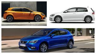 De arriba a abajo y de izqda a dcha: el Renault Megane, el VW Golf y...