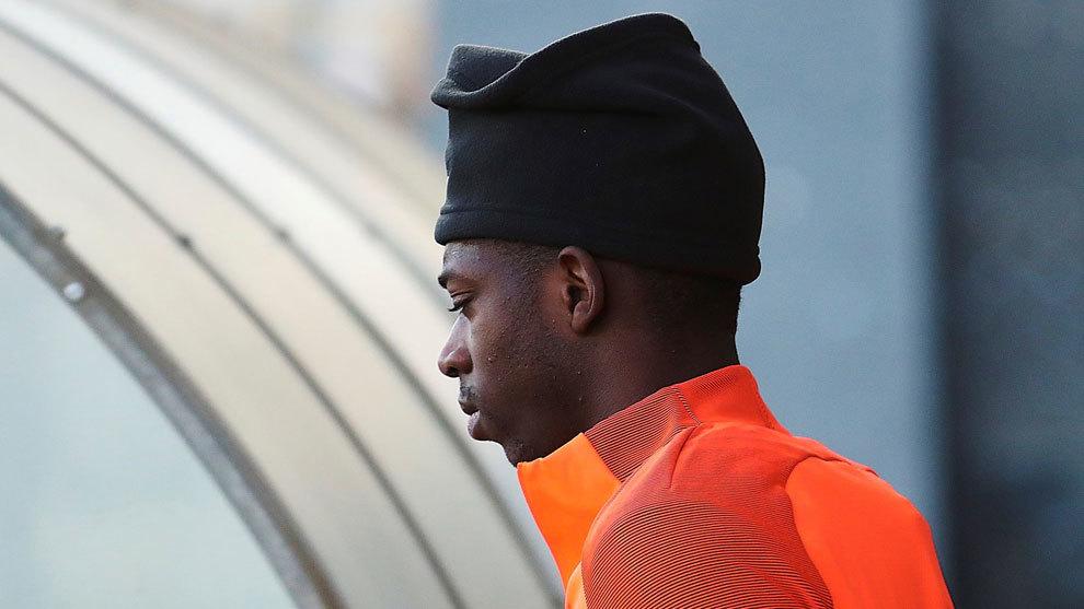 Dembélé, en el entrenamiento del Barcelona
