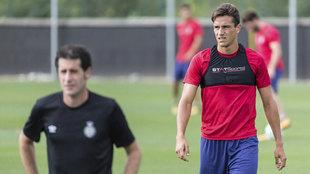 Bernardo, en el entrenamiento del Girona