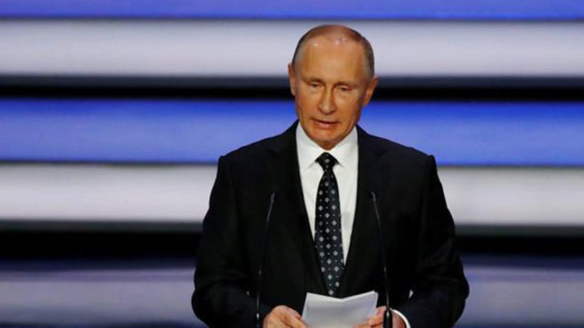Vladimir Putin, durante una rueda de prensa