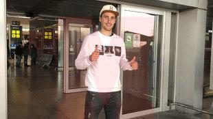 Ignasi Miquel en su llegada al aeropuerto Pablo Ruiz Picasso.