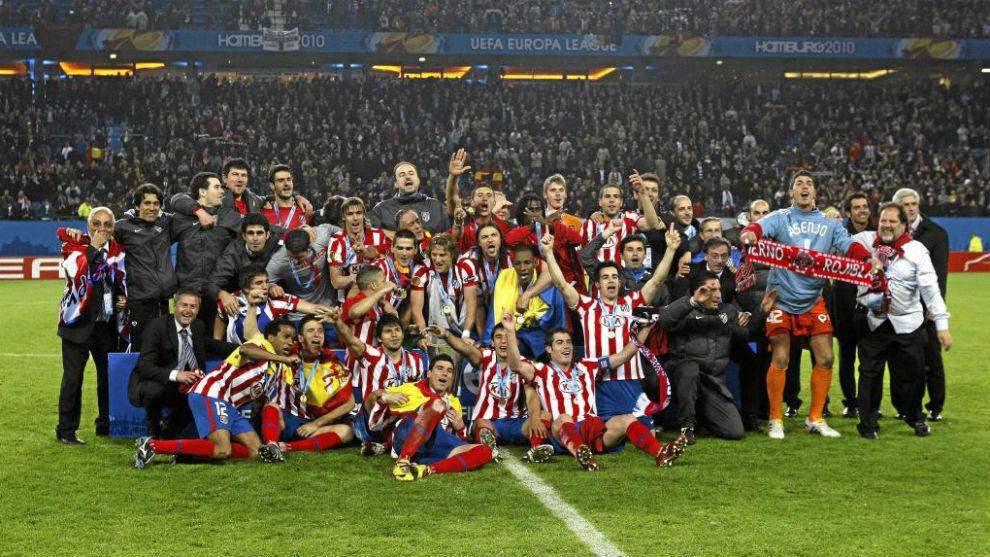El Atlético celebrando el título de Hamburgo