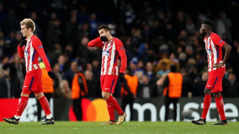 El Atlético, en Stamford Bridge después del partido