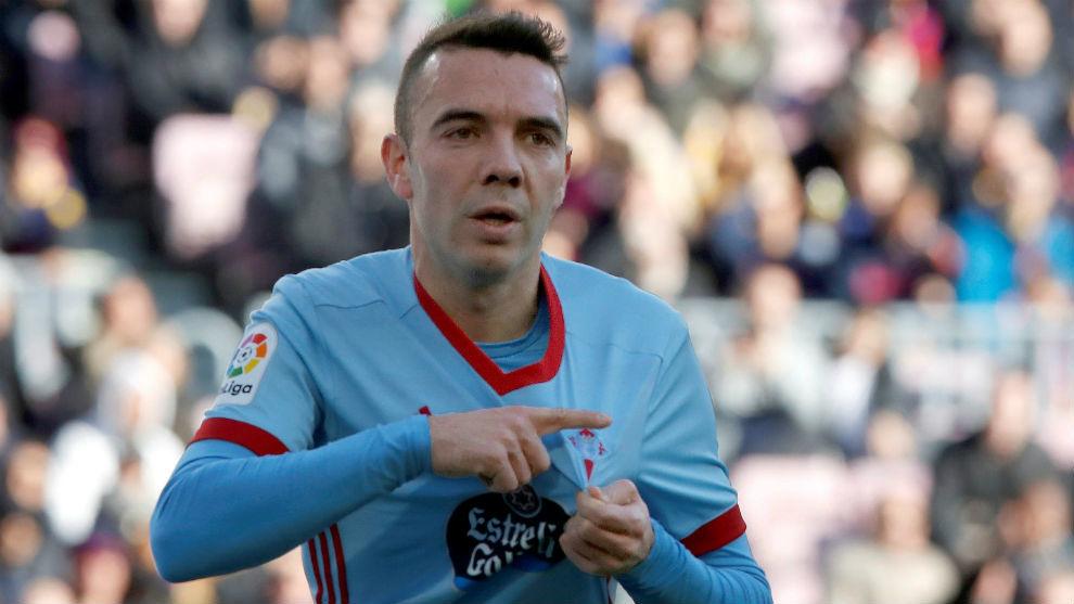 Iago Aspas celebrando su gol en el Camp Nou