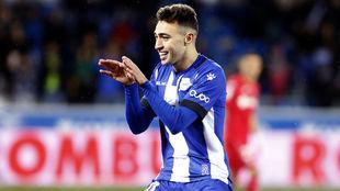 Munir El Haddadi Mohamed celebra el gol marcado ante el Getafe