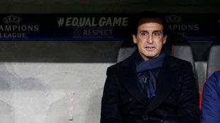 Emery, en el banquillo en un partido de Champions