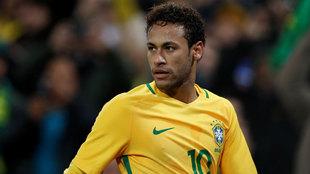 Neymar, en el amistoso de Brasil y Japón en Wembley