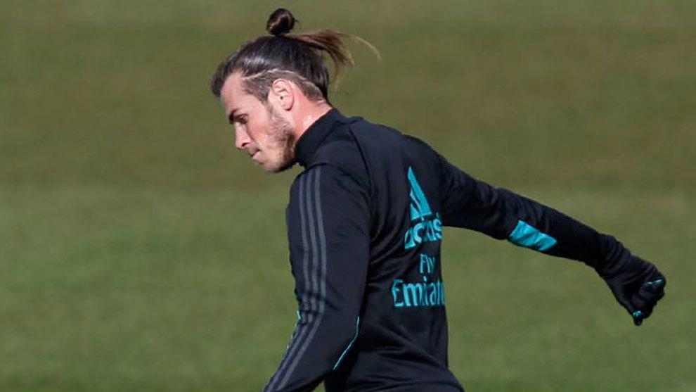 Gareth Bale, en el entrenamiento de este jueves