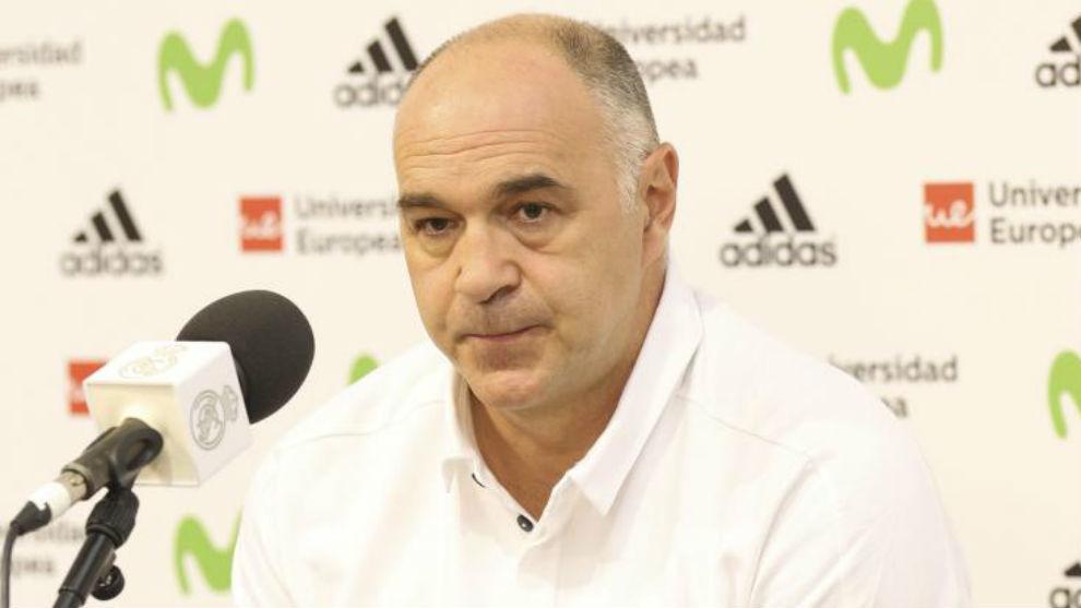 Pablo Laso, durante una rueda de prensa.