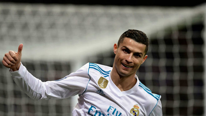 Cristiano celebra un gol en la Champions