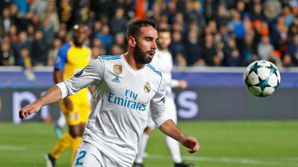 Carvajal, en el partido ante el APOEL en el que vio la amarilla