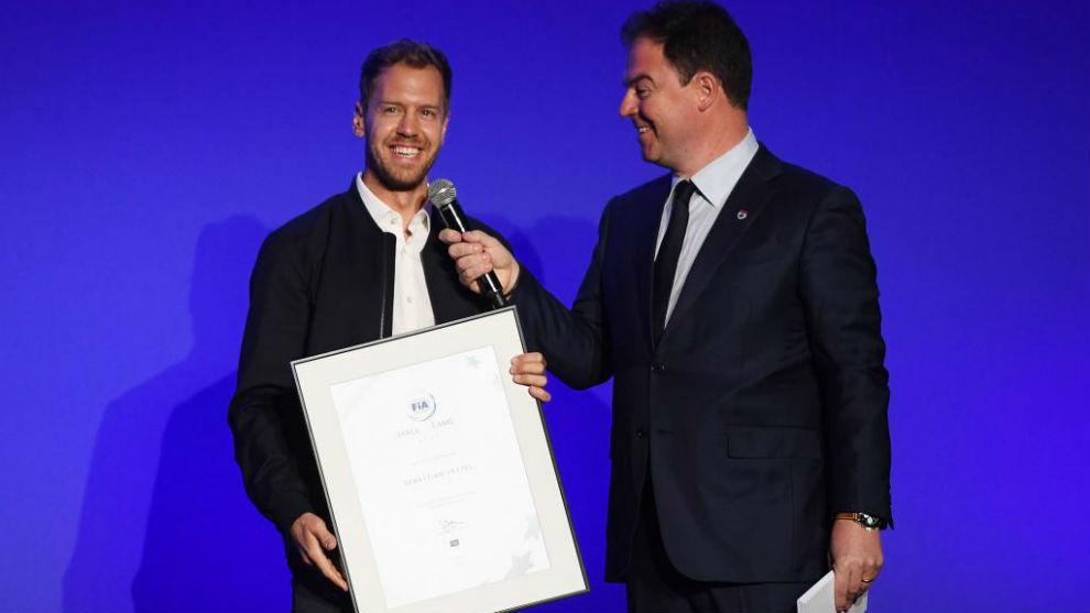 Sebastian Vettel, en la gala del Salón de la Fama de la FIA