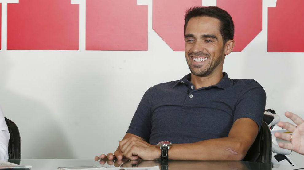 Alberto Contador durante su visita a MARCA en octubre.