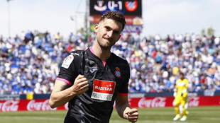 Baptistao celebra después de marcar en el Leganés-Espanyol