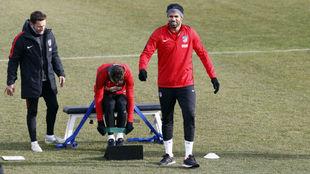 Diego Costa en una sesión de entrenamiento en el Cerro