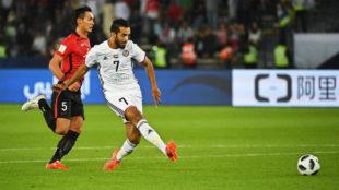 Ali Mabkhout anota el único tanto del partido.