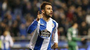 Adrián celebra el gol de la victoria