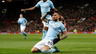 Otamendi celebra su gol al United.
