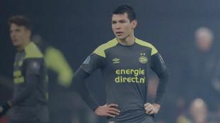 Hirving Lozano, en el partido contra el Ajax.