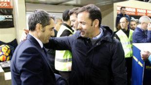 Javi Calleja saluda a Valverde