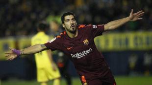 Luis Suárez, celebrando su gol ante el Villarreal