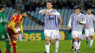 Diego Llorente celebrando un gol