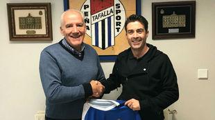 Rodrigo Hernando en la presentación como nuevo entrenador de la Peña...