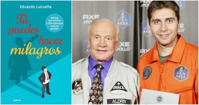 Portada del libro de Eduardo Lurueña y posando junto a Buzz Aldrin.