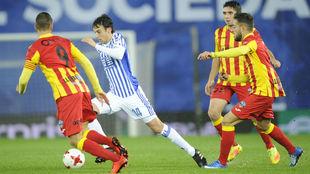 Pardo (25), en el partido de Copa ante el Lleida.