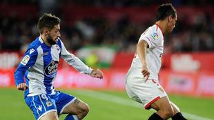 Fede Cartabia, junto a Ben Yedder en un partido entre el Sevilla y el...