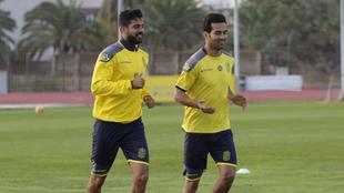 Masoud, en entrenamiento con Las Palmas