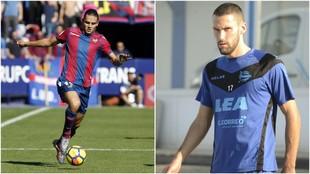 Enes Ünal, con la camiseta del Levante, y Alfonso Pedraza, con el...