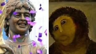 En Calcuta inauguraron una estatua de Diego Armando Maradona de la que...