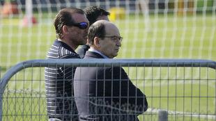 Óscar Arias y José Castro, en un entrenamiento.