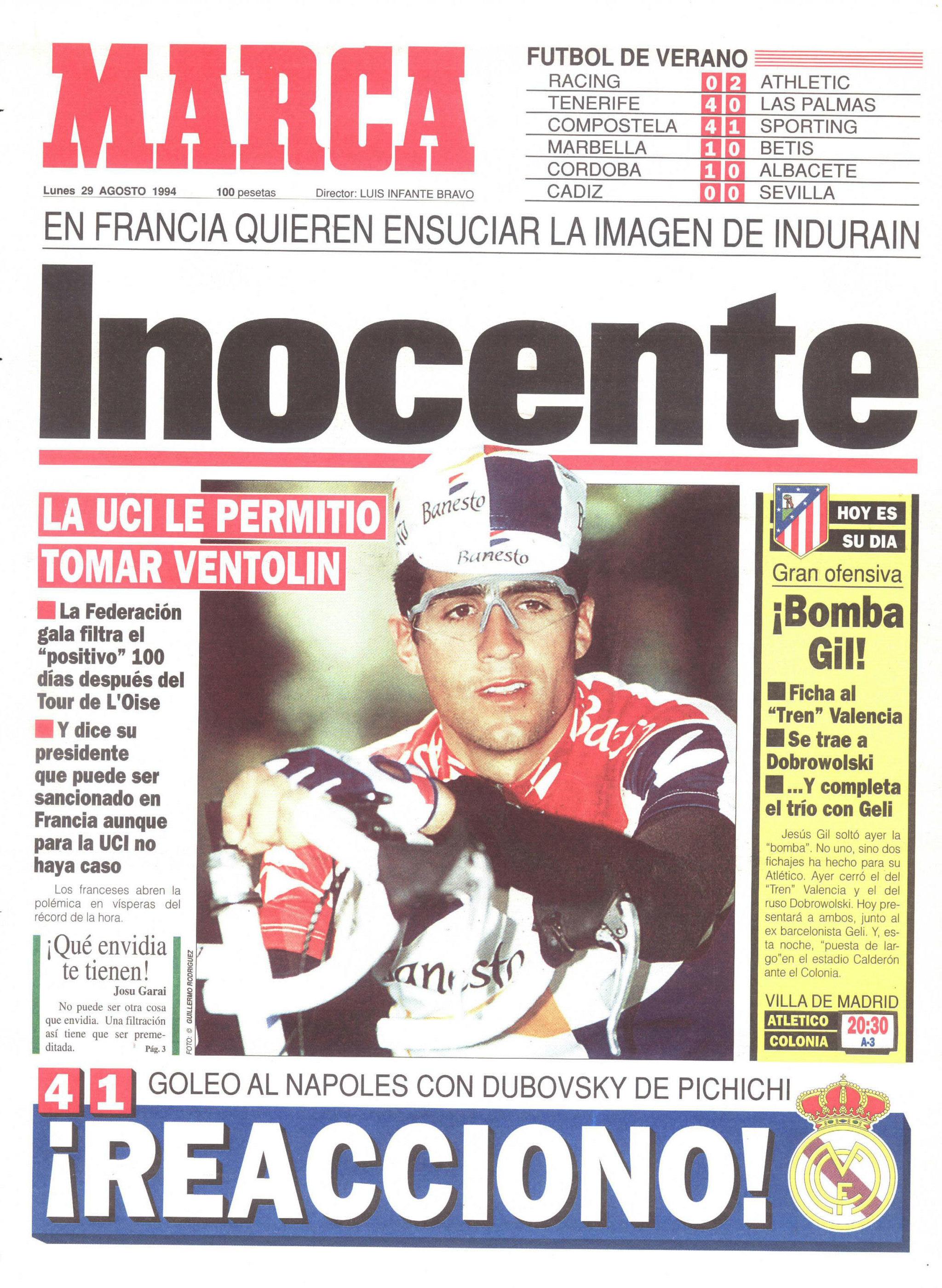 La portada de MARCA del 29 de agosto de 1994